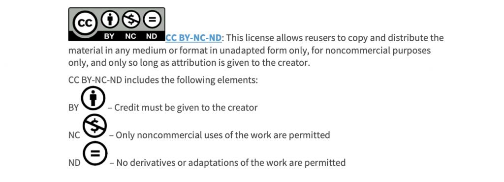 Creative Commons Attribution Non-Commercial Non-Derivative License