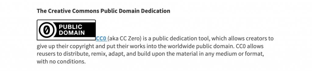 Creative Commons Public Domain License