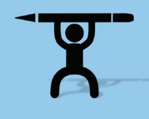 Stick figure Weight-lifting pencil