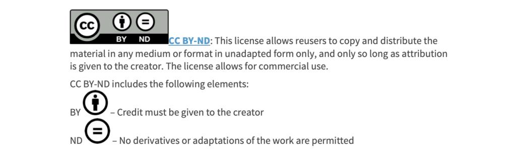 Creative Commons Attribution Non-Derivative License