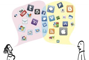 A collage of social media logos such as Twitter and Facebook.