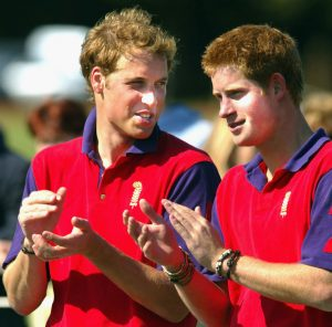 Prince William and Harry of the United Kingdom are shown talking while applauding and wearing brightly colored polo shirts.
