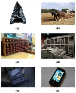 (a) Photo shows an arrowhead. (b) Photo shows a man operating a plow drawn by two horses. (c) Photo shows an abacus. (d) Photo shows one of the world's oldest computers, taking up a whole room. (e) Photo shows a smartphone.