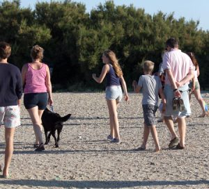 Photo shows a family walking with a dog on a beach.