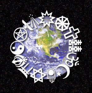 They symbols of 14 religions are depicted in a circle around the edge of an illustration of Earth, with North America and part of South America visible. The Earth illustration is shown sitting in the middle of a starry sky.
