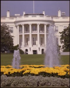 The White House and the fountains and gardens in front of it are shown