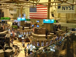 An overhead view of the New York Stock Exchange is shown here