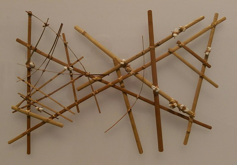 A Micronesian navigational chart from the Marshall Islands, made of wood, sennit fiber and cowrie shells