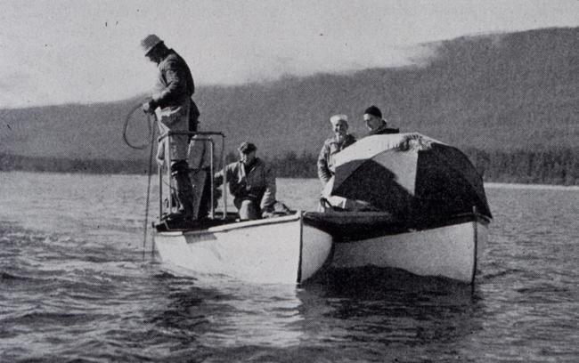 Lead line survey from a catamaran hull in Alaska, 1942.
