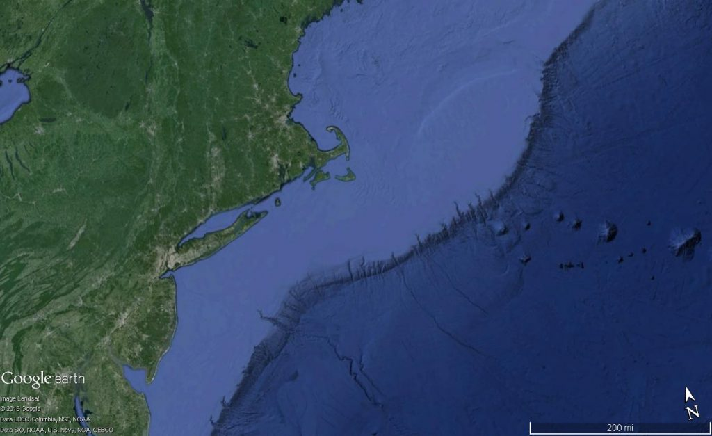 Physiograpgic map of the southern New England coast (